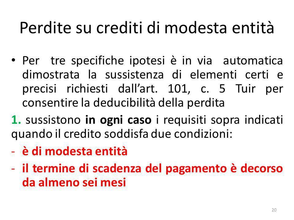 Perdite su crediti di modesta entità Per tre specifiche ipotesi è in via automatica dimostrata la sussistenza di elementi certi e precisi richiesti dallart.