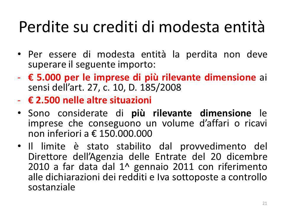 Perdite su crediti di modesta entità Per essere di modesta entità la perdita non deve superare il seguente importo: - 5.000 per le imprese di più rilevante dimensione ai sensi dellart.
