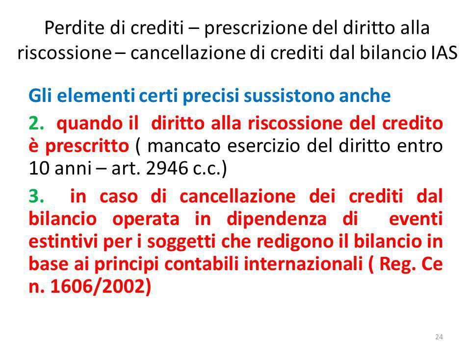 Perdite di crediti – prescrizione del diritto alla riscossione – cancellazione di crediti dal bilancio IAS Gli elementi certi precisi sussistono anche 2.