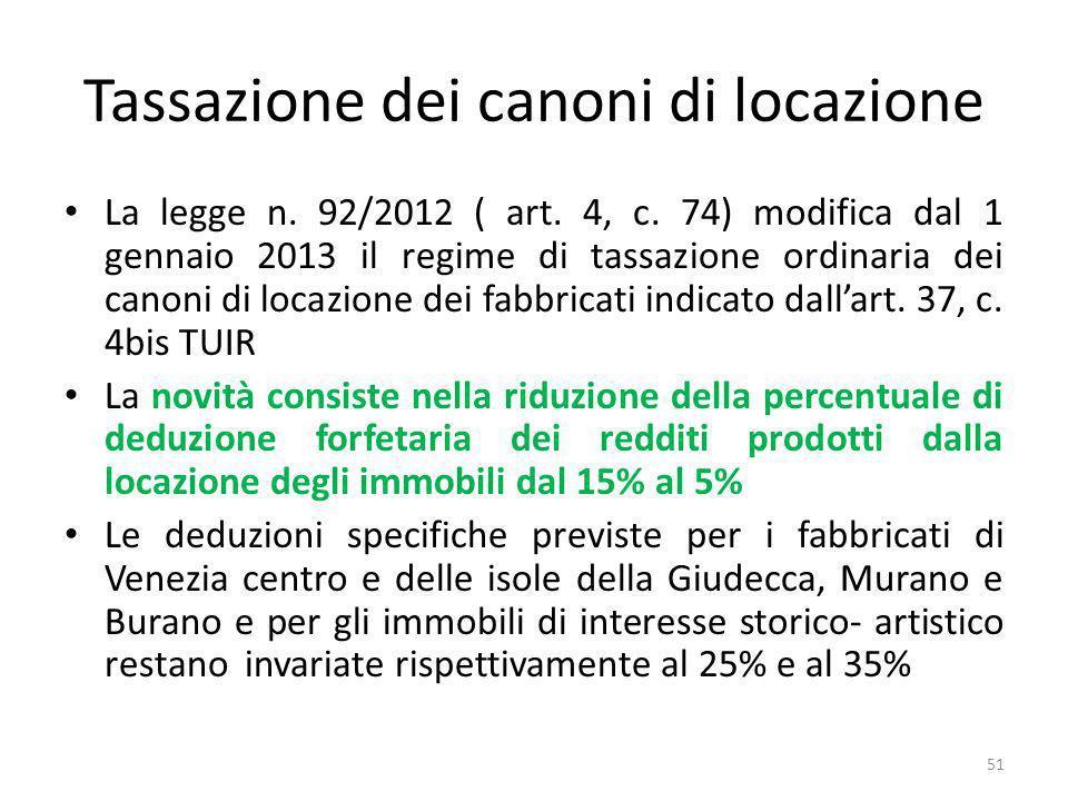 Tassazione dei canoni di locazione La legge n. 92/2012 ( art.