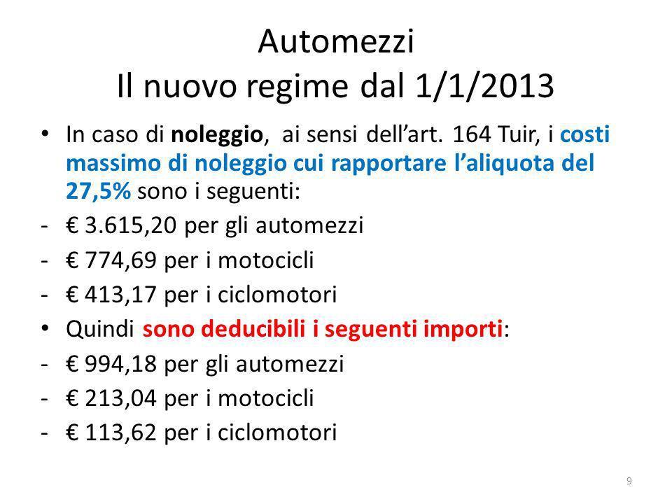 Automezzi Il nuovo regime dal 1/1/2013 In caso di noleggio, ai sensi dellart.