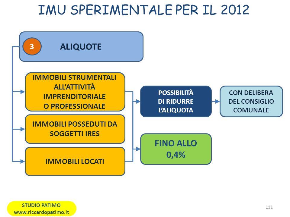 IMU SPERIMENTALE PER IL 2012 111 STUDIO PATIMO www.riccardopatimo.it ALIQUOTE IMMOBILI STRUMENTALI ALLATTIVITÀ IMPRENDITORIALE O PROFESSIONALE FINO ALLO 0,4% CON DELIBERA DEL CONSIGLIO COMUNALE POSSIBILITÀ DI RIDURRE LALIQUOTA 3 IMMOBILI POSSEDUTI DA SOGGETTI IRES IMMOBILI LOCATI