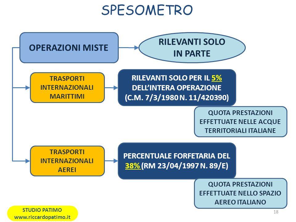 SPESOMETRO 18 STUDIO PATIMO www.riccardopatimo.it OPERAZIONI MISTE TRASPORTI INTERNAZIONALI MARITTIMI TRASPORTI INTERNAZIONALI AEREI RILEVANTI SOLO PER IL 5% DELLINTERA OPERAZIONE (C.M.