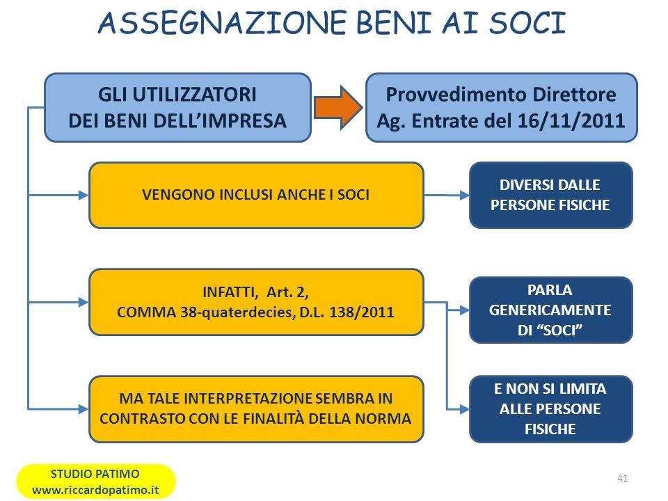 ASSEGNAZIONE BENI AI SOCI 41 STUDIO PATIMO www.riccardopatimo.it GLI UTILIZZATORI DEI BENI DELLIMPRESA VENGONO INCLUSI ANCHE I SOCI INFATTI, Art.