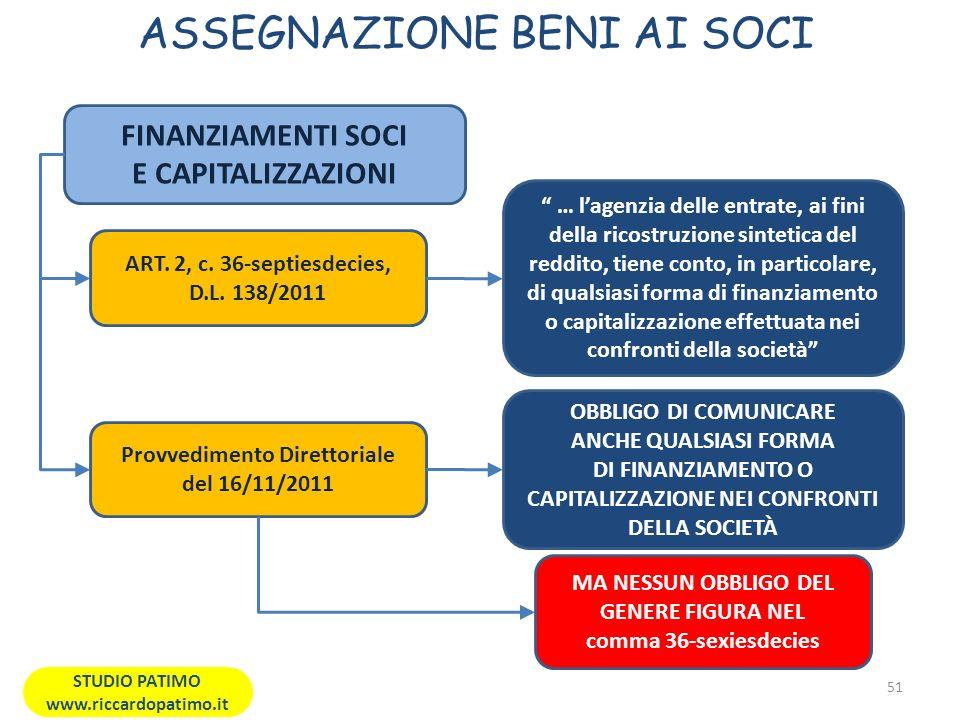 ASSEGNAZIONE BENI AI SOCI 51 STUDIO PATIMO www.riccardopatimo.it FINANZIAMENTI SOCI E CAPITALIZZAZIONI ART.
