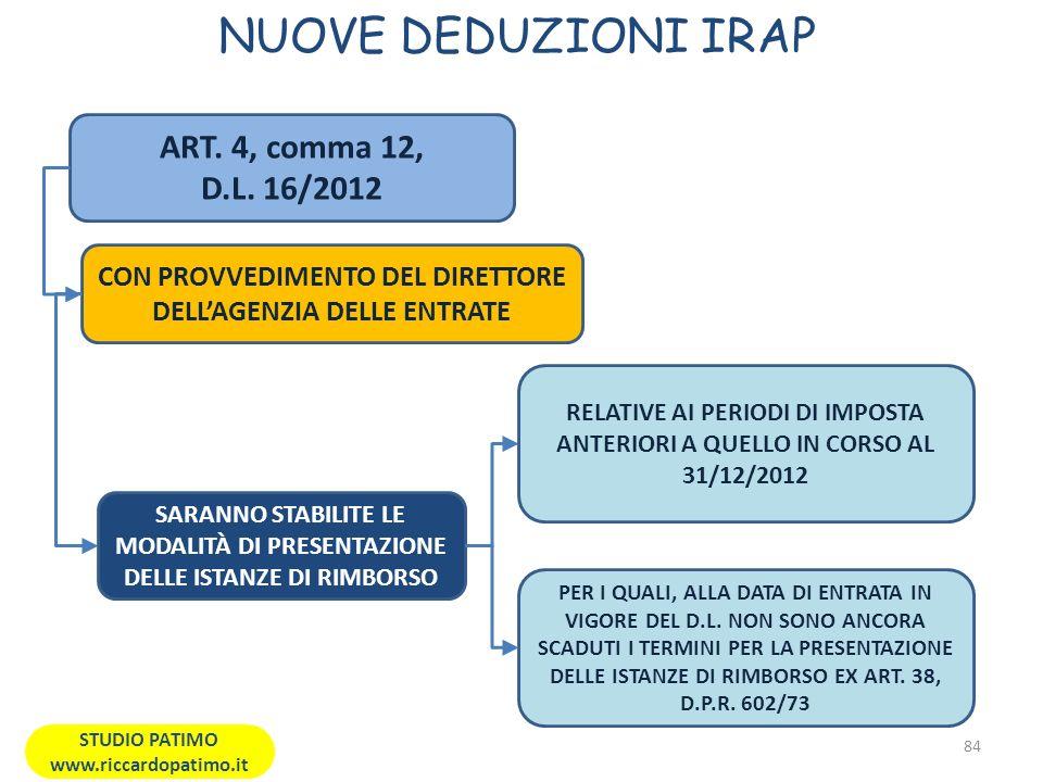 NUOVE DEDUZIONI IRAP 84 STUDIO PATIMO www.riccardopatimo.it ART.