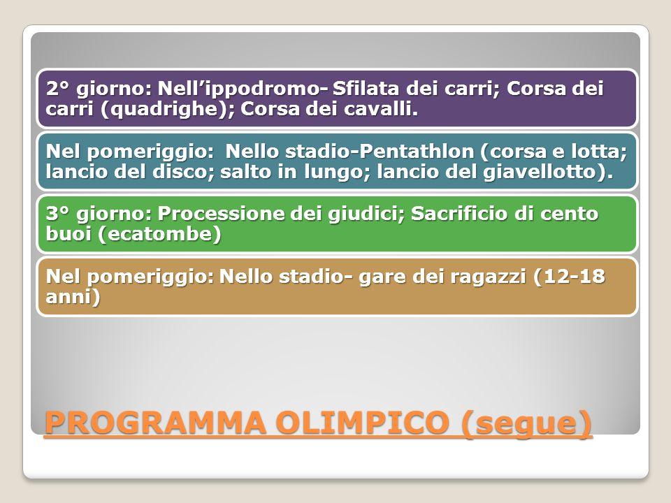 PROGRAMMA OLIMPICO (segue) 2° giorno: Nellippodromo- Sfilata dei carri; Corsa dei carri (quadrighe); Corsa dei cavalli.