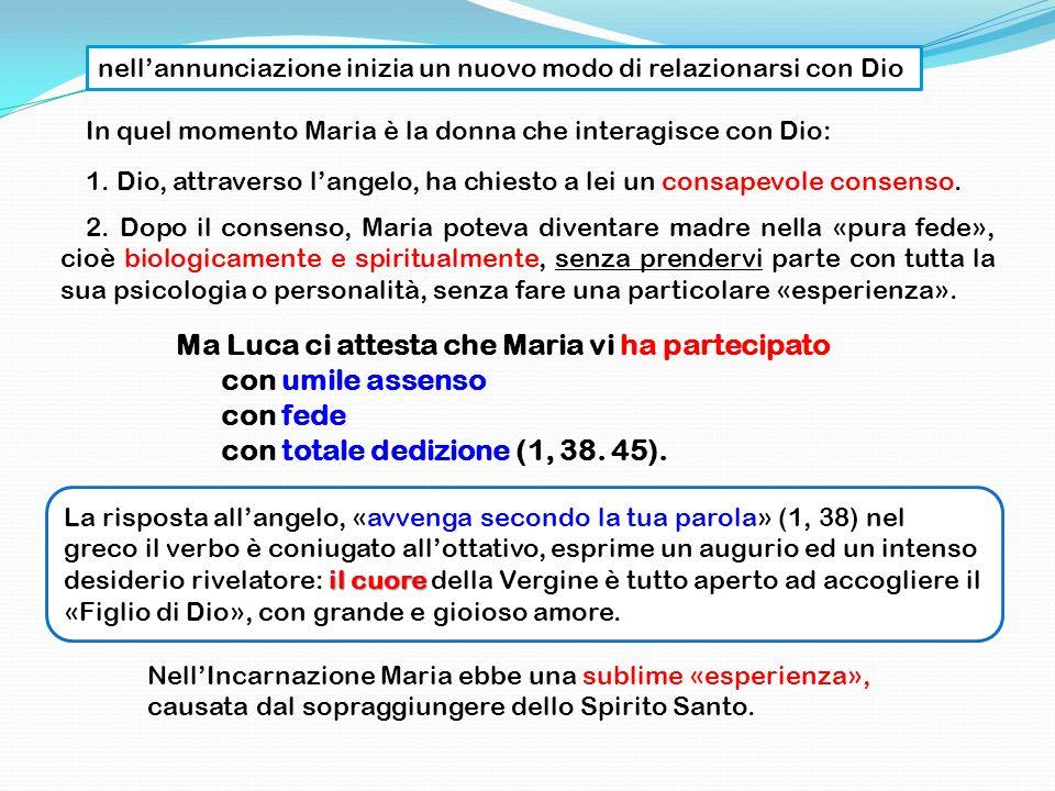 In quel momento Maria è la donna che interagisce con Dio: 1. Dio, attraverso langelo, ha chiesto a lei un consapevole consenso. 2. Dopo il consenso, M