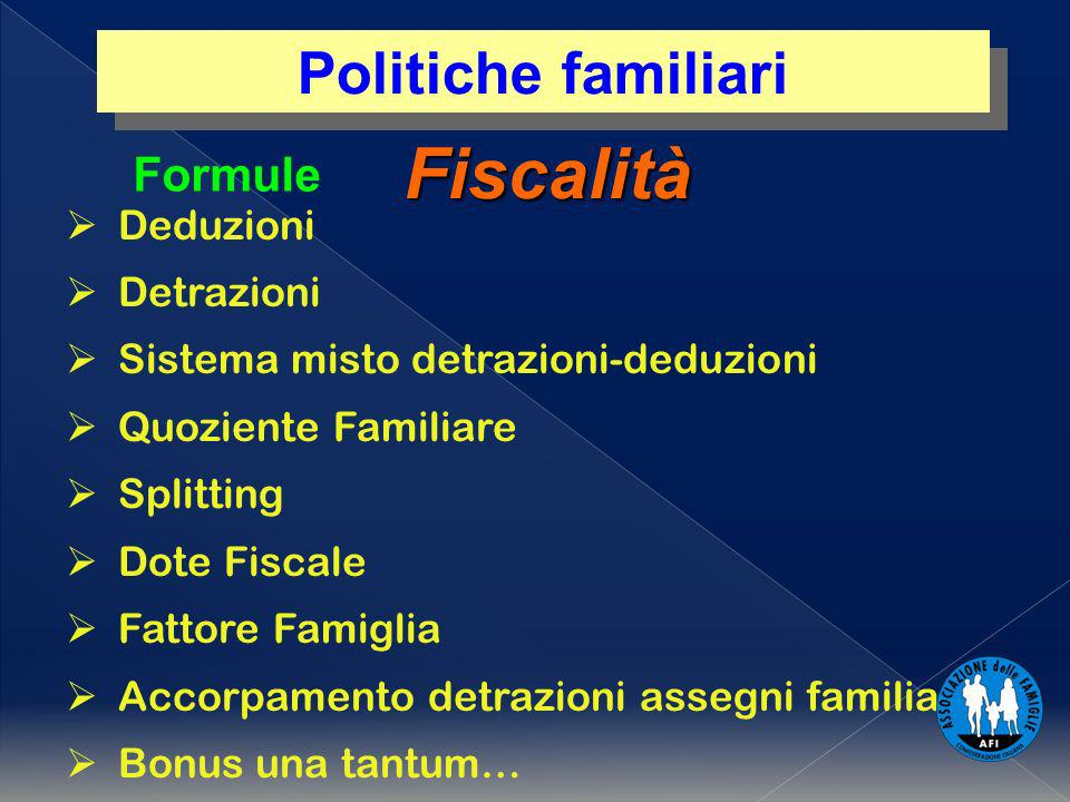Fiscalità Deduzioni Detrazioni Sistema misto detrazioni-deduzioni Quoziente Familiare Splitting Dote Fiscale Fattore Famiglia Accorpamento detrazioni