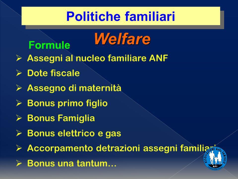 Welfare Assegni al nucleo familiare ANF Dote fiscale Assegno di maternità Bonus primo figlio Bonus Famiglia Bonus elettrico e gas Accorpamento detrazi