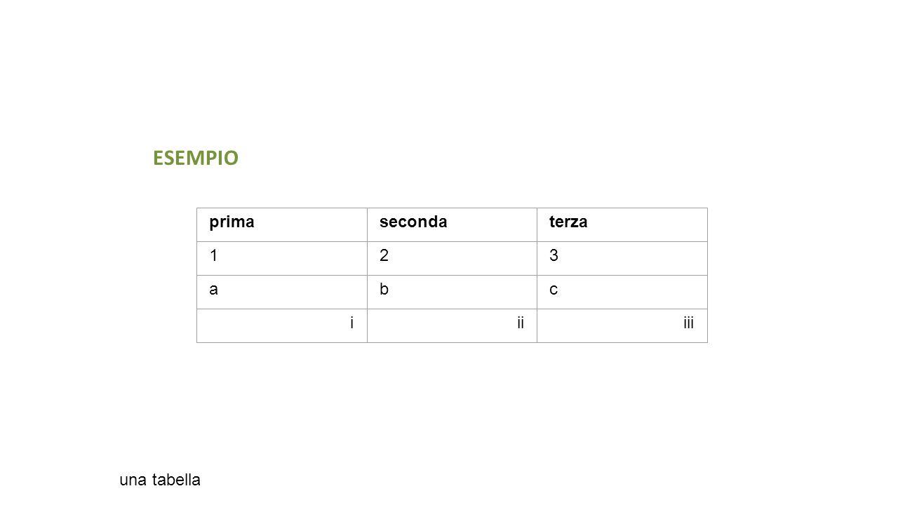 primasecondaterza 123 abc iiiiii una tabella ESEMPIO