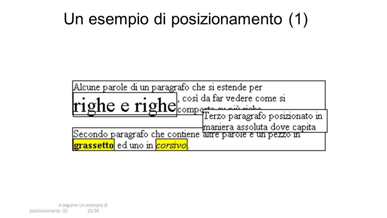 A seguire: Un esempio di posizionamento (2)21/35 Un esempio di posizionamento (1)