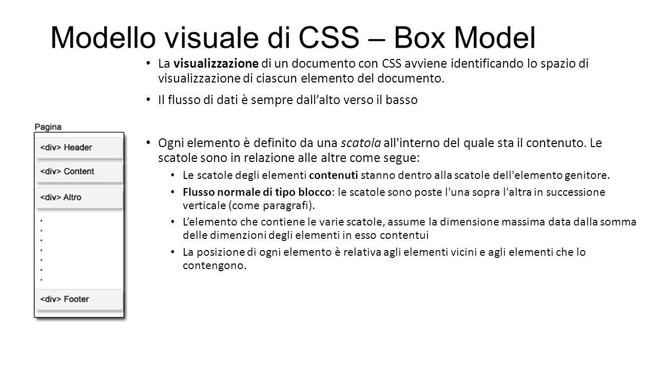 Modello visuale di CSS – Box Model La visualizzazione di un documento con CSS avviene identificando lo spazio di visualizzazione di ciascun elemento del documento.