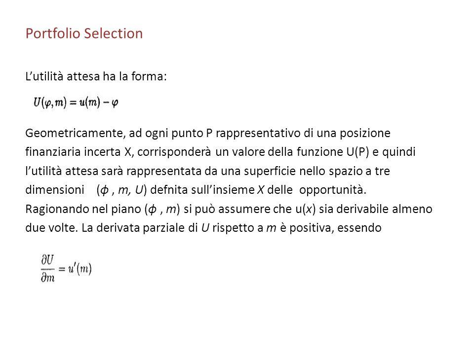 Portfolio Selection Lutilità attesa ha la forma: Geometricamente, ad ogni punto P rappresentativo di una posizione finanziaria incerta X, corrisponder
