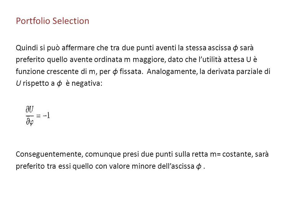 Portfolio Selection Quindi si può affermare che tra due punti aventi la stessa ascissa ϕ sarà preferito quello avente ordinata m maggiore, dato che lu