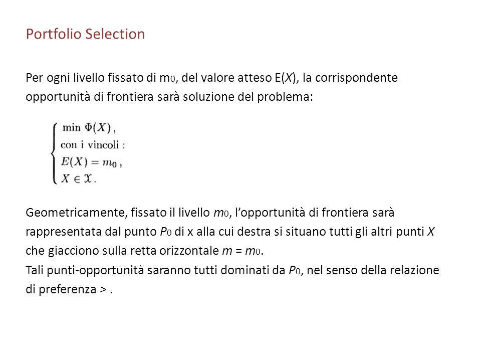 Portfolio Selection Per ogni livello fissato di m 0, del valore atteso E(X), la corrispondente opportunità di frontiera sarà soluzione del problema: G