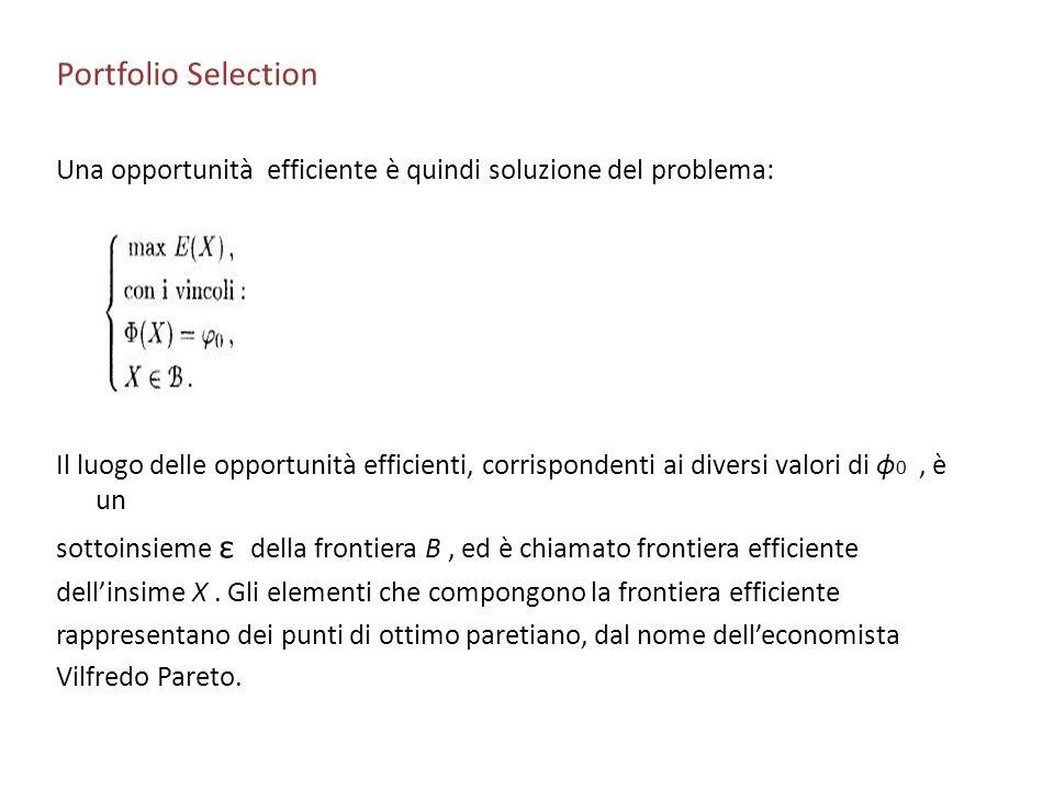 Portfolio Selection Una opportunità efficiente è quindi soluzione del problema: Il luogo delle opportunità efficienti, corrispondenti ai diversi valor