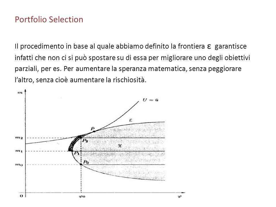 Portfolio Selection Il procedimento in base al quale abbiamo definito la frontiera ε garantisce infatti che non ci si può spostare su di essa per migl