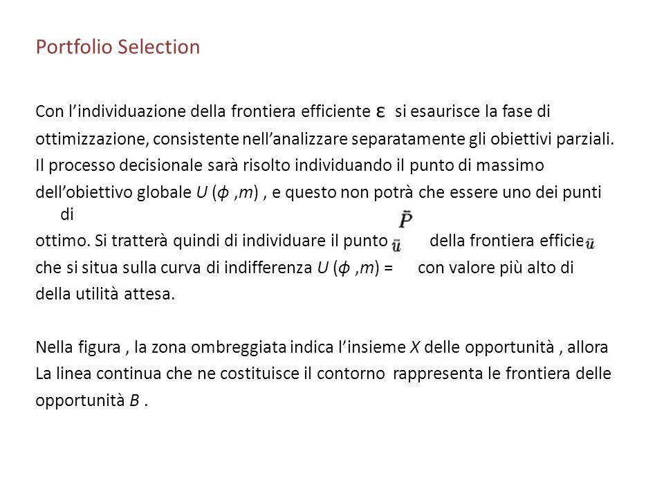 Portfolio Selection Con lindividuazione della frontiera efficiente ε si esaurisce la fase di ottimizzazione, consistente nellanalizzare separatamente