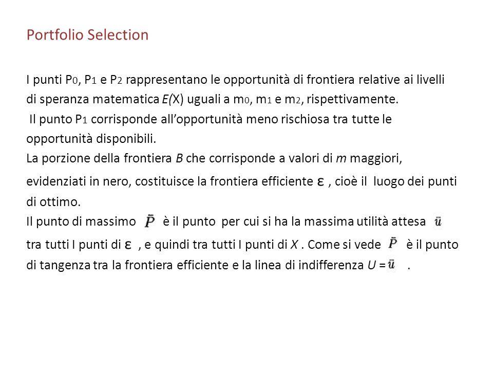 Portfolio Selection I punti P 0, P 1 e P 2 rappresentano le opportunità di frontiera relative ai livelli di speranza matematica E(X) uguali a m 0, m 1