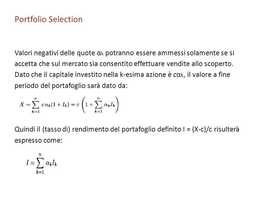 Portfolio Selection Valori negativi delle quote α k potranno essere ammessi solamente se si accetta che sul mercato sia consentito effettuare vendite