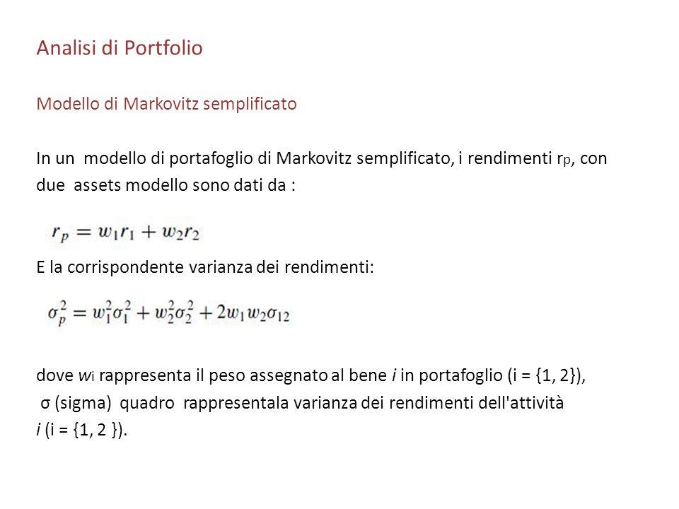 Analisi di Portfolio Modello di Markovitz semplificato In un modello di portafoglio di Markovitz semplificato, i rendimenti r p, con due assets modell