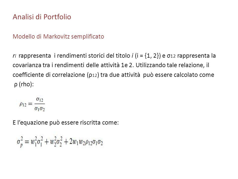 Analisi di Portfolio Modello di Markovitz semplificato r i rappresenta i rendimenti storici del titolo i (i = {1, 2}) e σ 12 rappresenta la covarianza