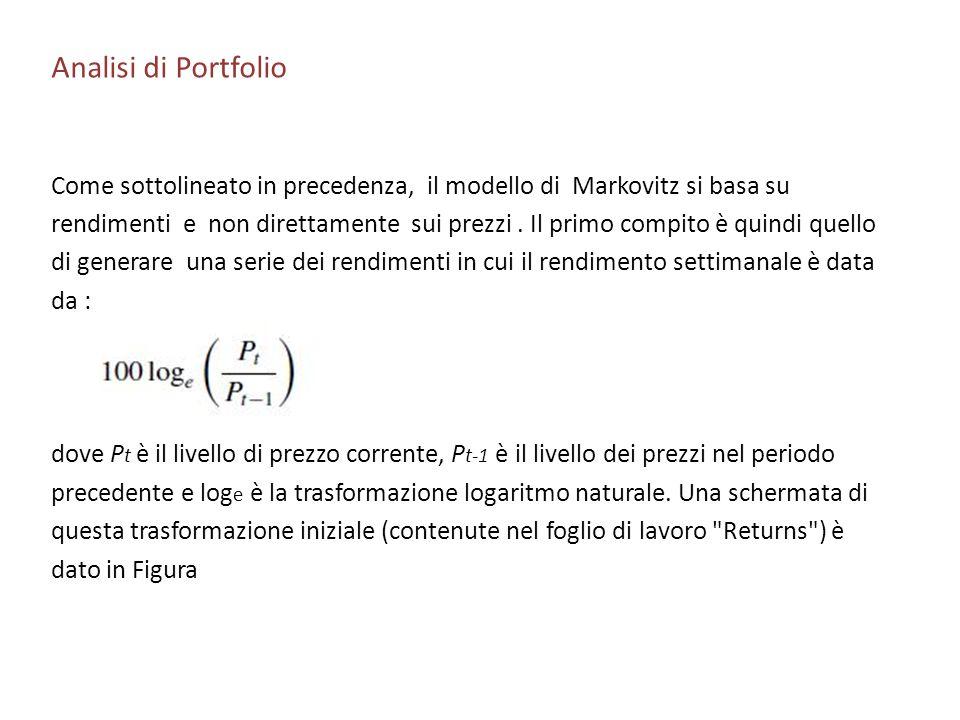 Analisi di Portfolio Come sottolineato in precedenza, il modello di Markovitz si basa su rendimenti e non direttamente sui prezzi. Il primo compito è