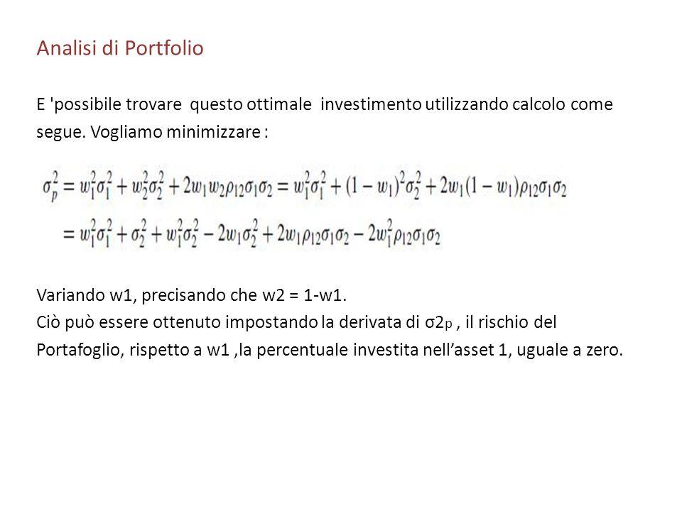 Analisi di Portfolio E 'possibile trovare questo ottimale investimento utilizzando calcolo come segue. Vogliamo minimizzare : Variando w1, precisando