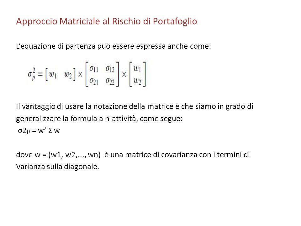 Approccio Matriciale al Rischio di Portafoglio Lequazione di partenza può essere espressa anche come: Il vantaggio di usare la notazione della matrice