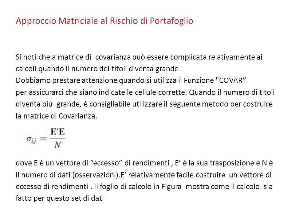 Approccio Matriciale al Rischio di Portafoglio Si noti chela matrice di covarianza può essere complicata relativamente ai calcoli quando il numero dei