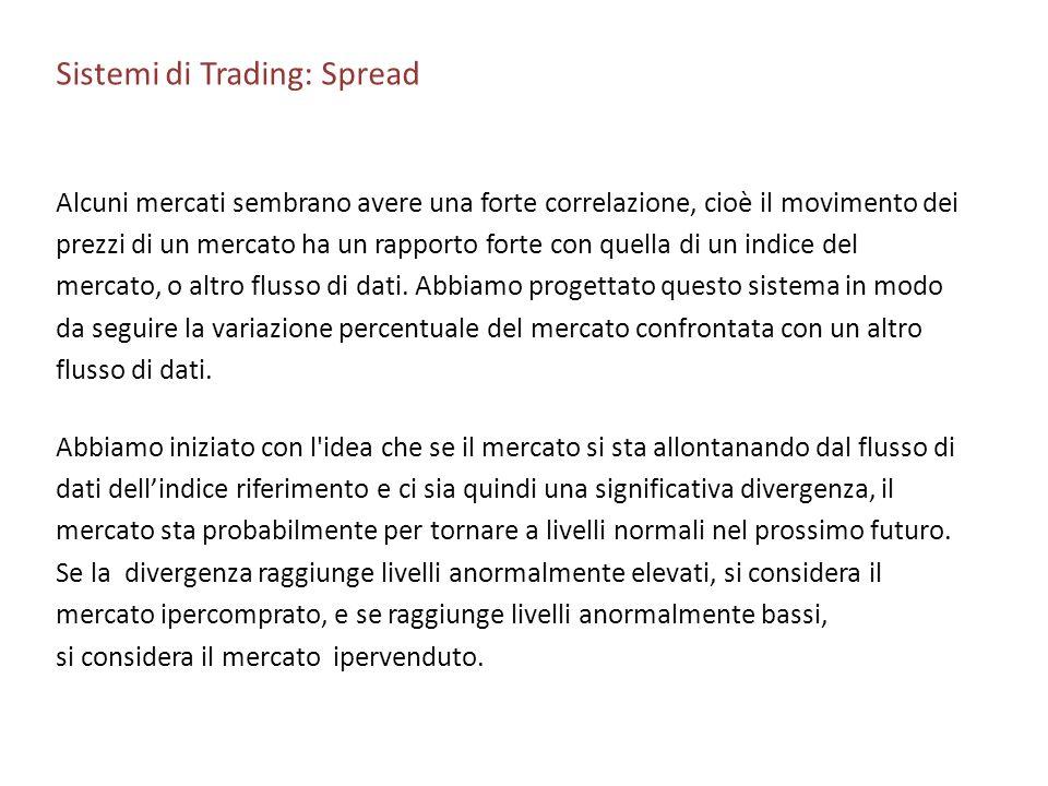 Sistemi di Trading: Spread Alcuni mercati sembrano avere una forte correlazione, cioè il movimento dei prezzi di un mercato ha un rapporto forte con q
