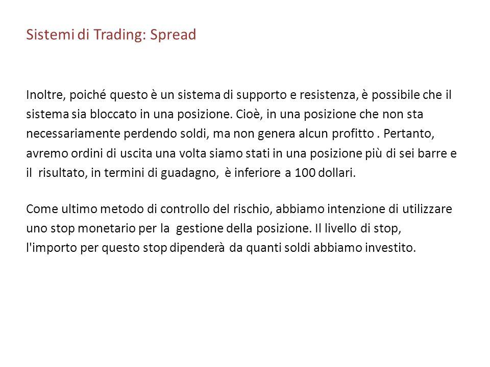 Sistemi di Trading: Spread Inoltre, poiché questo è un sistema di supporto e resistenza, è possibile che il sistema sia bloccato in una posizione. Cio