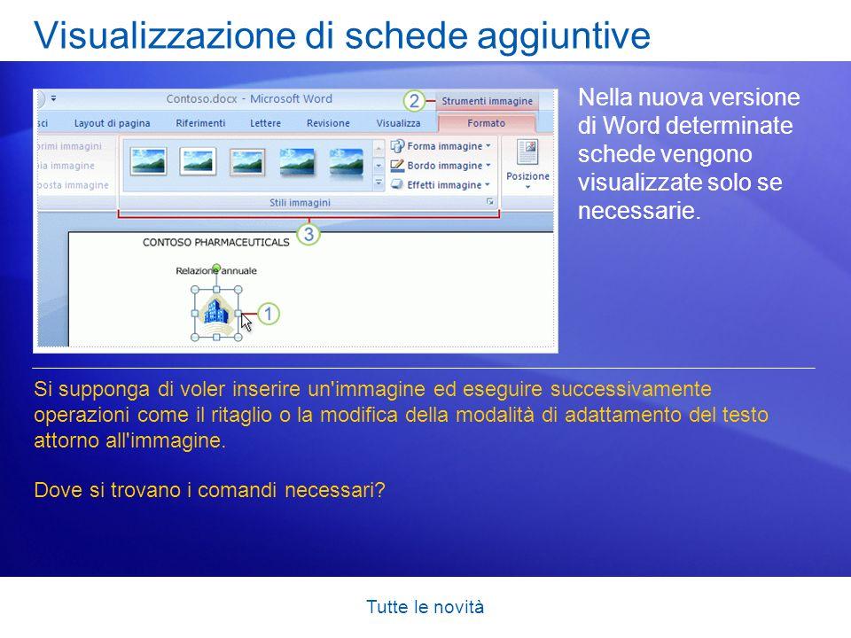 Tutte le novità Visualizzazione di schede aggiuntive Nella nuova versione di Word determinate schede vengono visualizzate solo se necessarie. Si suppo
