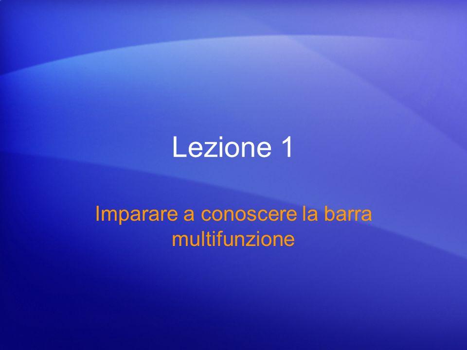 Tutte le novità Test 1, domanda 2: Risposta La barra è disponibile nell angolo superiore sinistro dello schermo ed è consigliabile utilizzarla per i comandi preferiti.