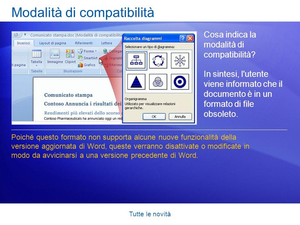 Tutte le novità Modalità di compatibilità Cosa indica la modalità di compatibilità? In sintesi, l'utente viene informato che il documento è in un form