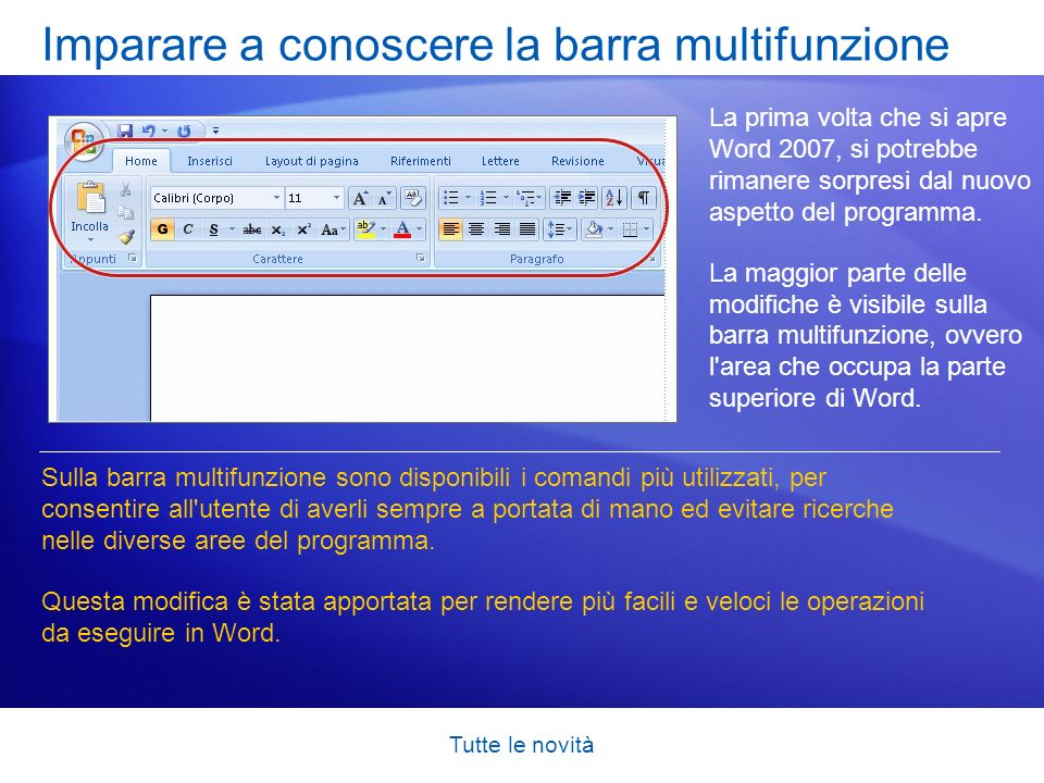 Tutte le novità Imparare a conoscere la barra multifunzione La prima volta che si apre Word 2007, si potrebbe rimanere sorpresi dal nuovo aspetto del