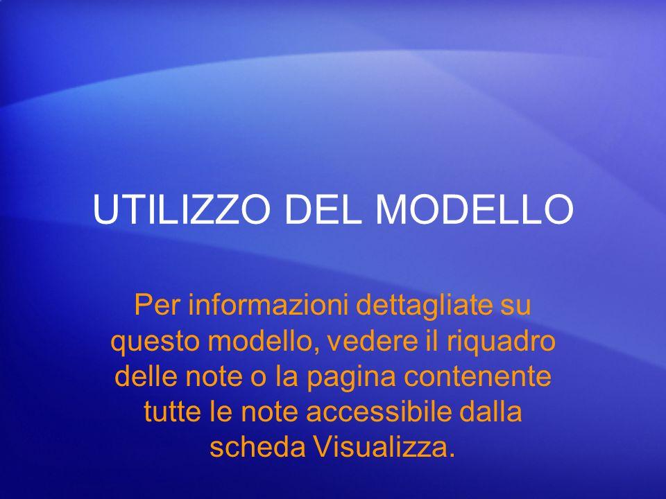 UTILIZZO DEL MODELLO Per informazioni dettagliate su questo modello, vedere il riquadro delle note o la pagina contenente tutte le note accessibile da