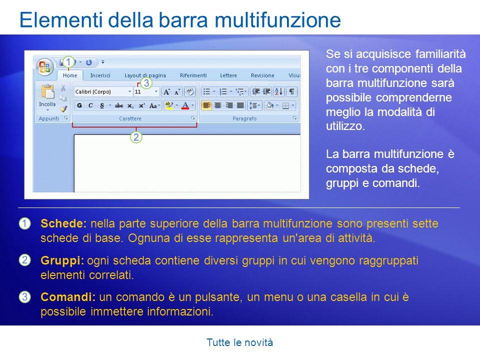 Tutte le novità Trovare i comandi di uso comune L interfaccia di Word 2007 è stata completamente rinnovata.