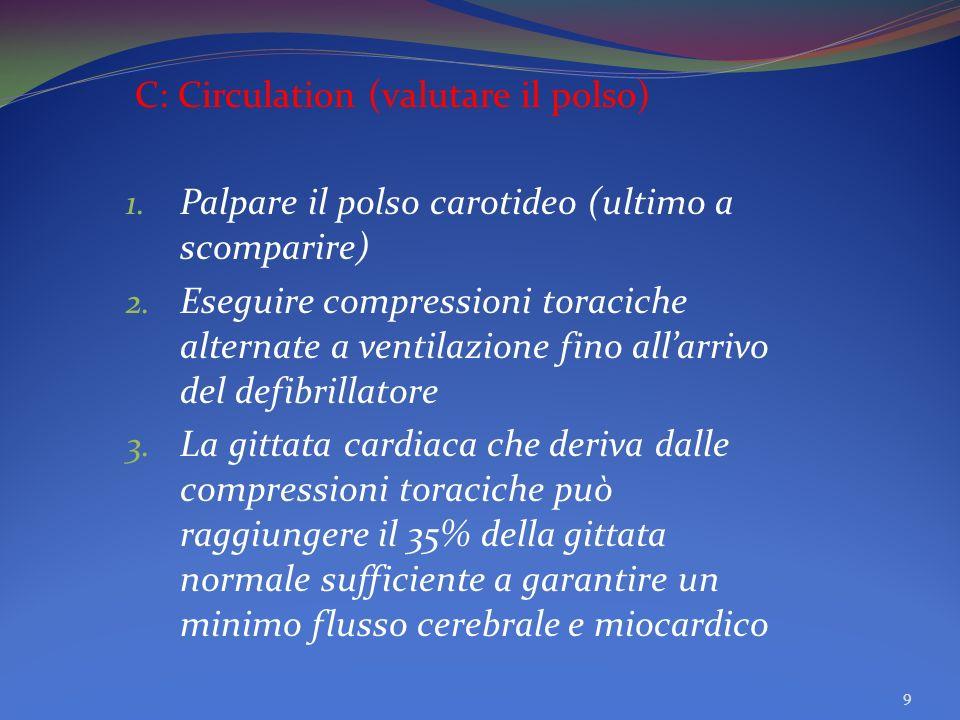 C: Circulation (valutare il polso) 1.Palpare il polso carotideo (ultimo a scomparire) 2.