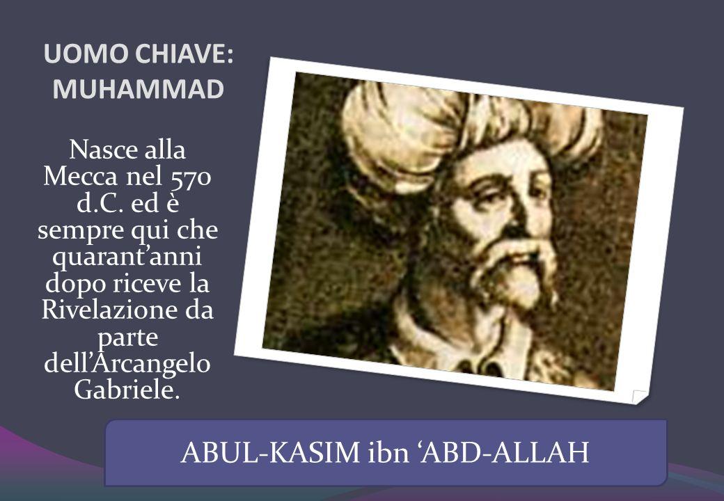 UOMO CHIAVE: MUHAMMAD Nasce alla Mecca nel 570 d.C. ed è sempre qui che quarantanni dopo riceve la Rivelazione da parte dellArcangelo Gabriele. ABUL-K