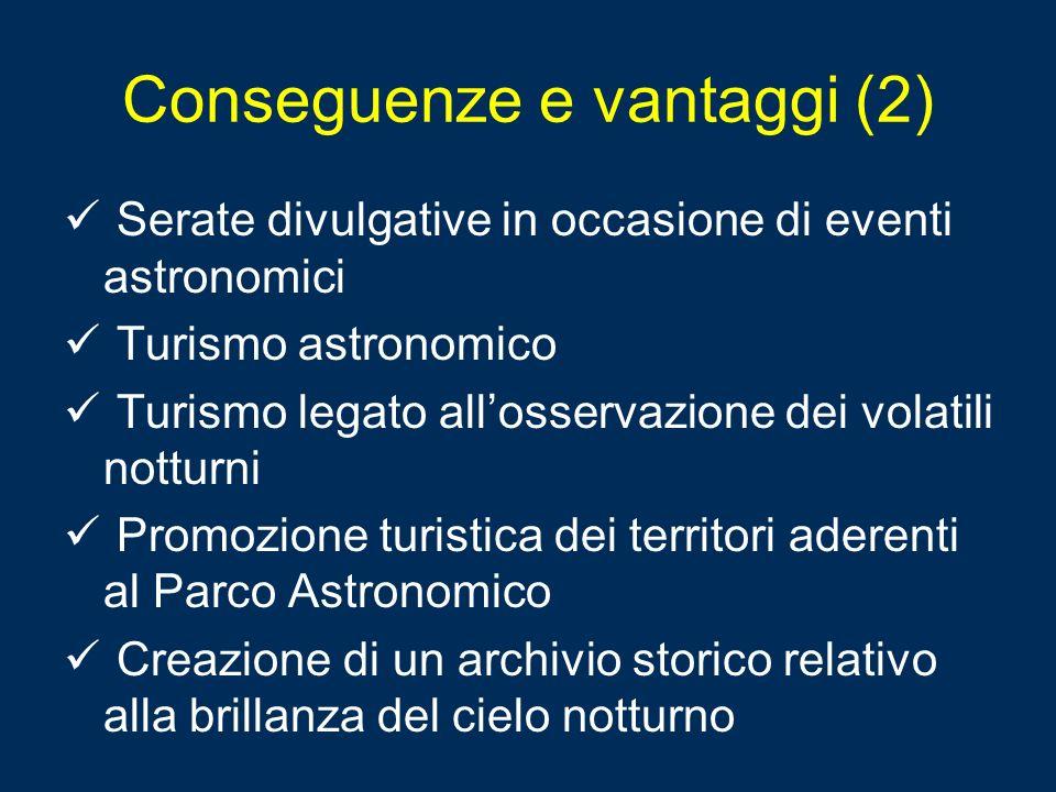 Conseguenze e vantaggi (2) Serate divulgative in occasione di eventi astronomici Turismo astronomico Turismo legato allosservazione dei volatili nottu