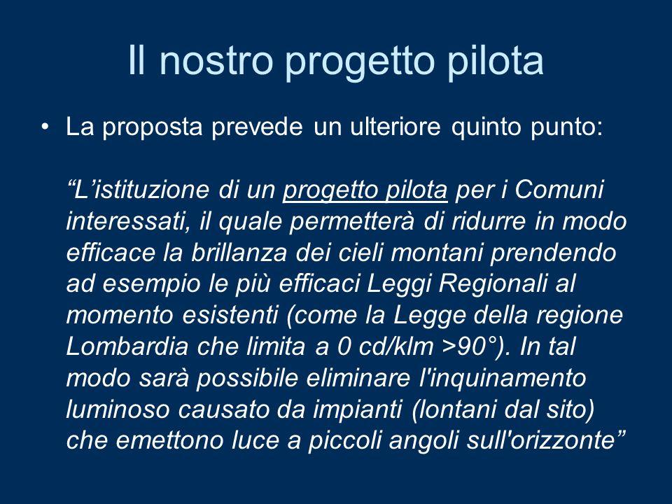 Il nostro progetto pilota La proposta prevede un ulteriore quinto punto: Listituzione di un progetto pilota per i Comuni interessati, il quale permett