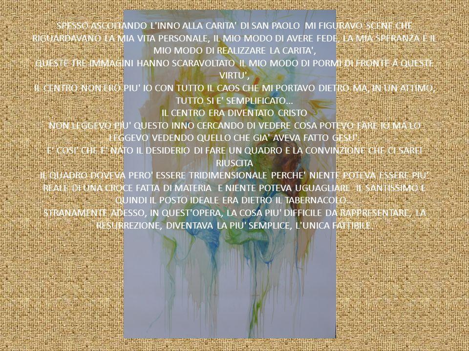 SPESSO ASCOLTANDO L'INNO ALLA CARITA' DI SAN PAOLO MI FIGURAVO SCENE CHE RIGUARDAVANO LA MIA VITA PERSONALE, IL MIO MODO DI AVERE FEDE, LA MIA SPERANZ