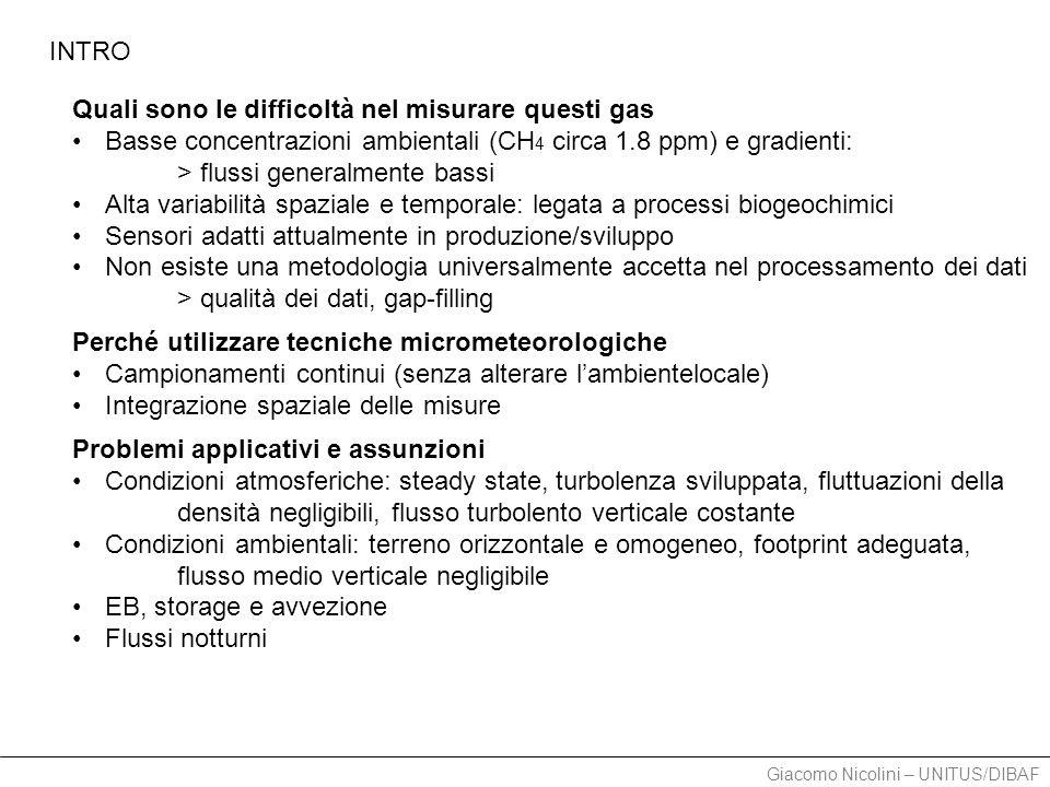 Giacomo Nicolini – UNITUS/DIBAF TOWER 2011.04.16-06.24 - DRY season Li-7700, Li-6262, Gill-WM Data loss Crash sistema 80% Processing 50% Filtraggio attenuato No gap-filling