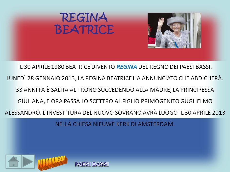 IL 30 APRILE 1980 BEATRICE DIVENTÒ REGINA DEL REGNO DEI PAESI BASSI. LUNEDÌ 28 GENNAIO 2013, LA REGINA BEATRICE HA ANNUNCIATO CHE ABDICHERÀ. 33 ANNI F