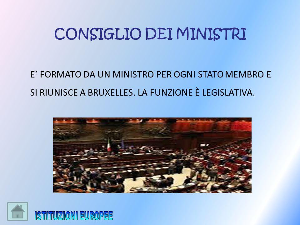 E FORMATO DA UN MINISTRO PER OGNI STATO MEMBRO E SI RIUNISCE A BRUXELLES. LA FUNZIONE È LEGISLATIVA. CONSIGLIO DEI MINISTRI
