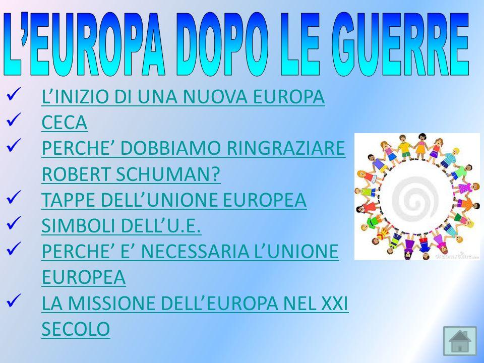 LINIZIO DI UNA NUOVA EUROPA CECA PERCHE DOBBIAMO RINGRAZIARE ROBERT SCHUMAN? PERCHE DOBBIAMO RINGRAZIARE ROBERT SCHUMAN? TAPPE DELLUNIONE EUROPEA SIMB