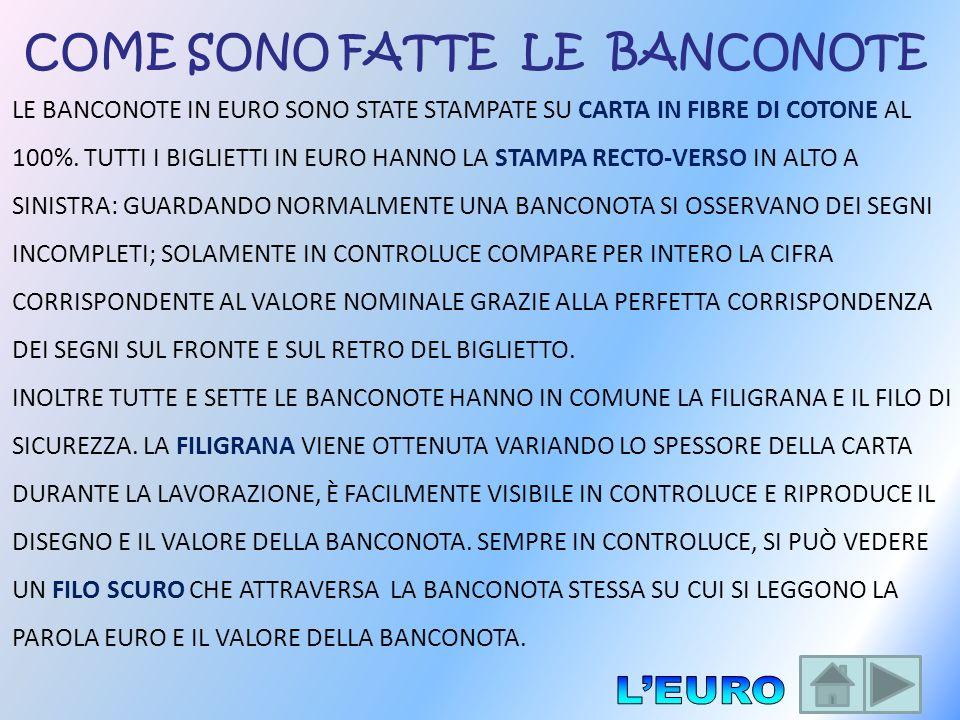LE BANCONOTE IN EURO SONO STATE STAMPATE SU CARTA IN FIBRE DI COTONE AL 100%. TUTTI I BIGLIETTI IN EURO HANNO LA STAMPA RECTO-VERSO IN ALTO A SINISTRA