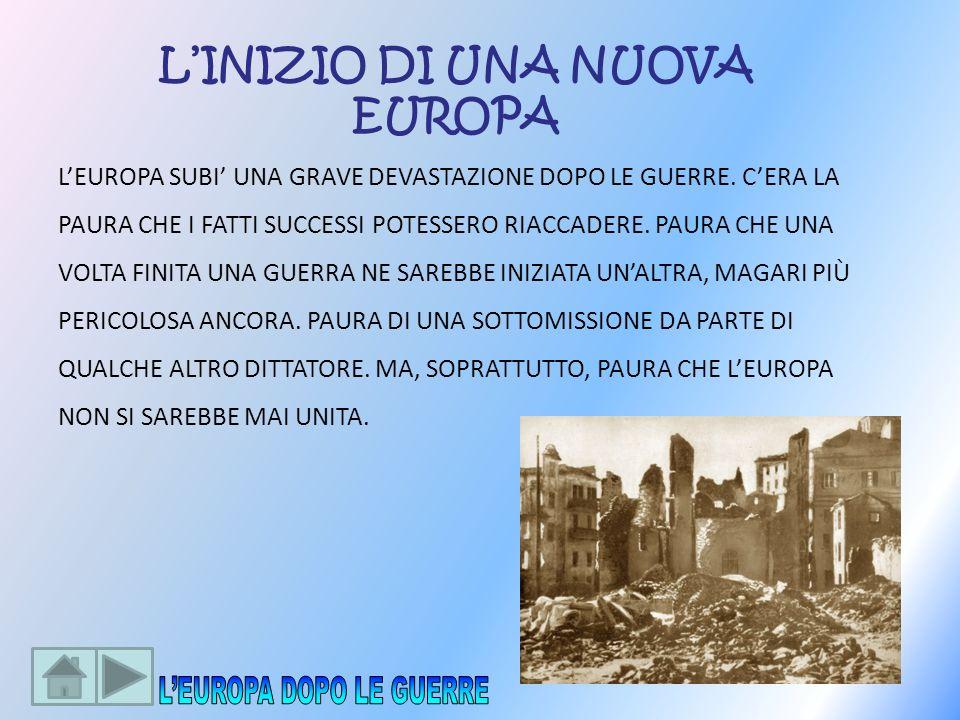 LINIZIO DI UNA NUOVA EUROPA LEUROPA SUBI UNA GRAVE DEVASTAZIONE DOPO LE GUERRE. CERA LA PAURA CHE I FATTI SUCCESSI POTESSERO RIACCADERE. PAURA CHE UNA